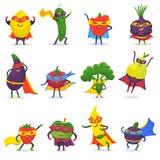 Διανυσματικός fruity χαρακτήρας κινουμένων σχεδίων φρούτων Superhero των έξοχων λαχανικών έκφρασης ηρώων με την αστείο μπανάνα ή  Στοκ Εικόνες