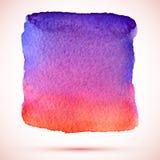 Διανυσματικός grunge λεκές χρωμάτων watercolor ρόδινος και ιώδης με τη σκιά Στοκ Εικόνες
