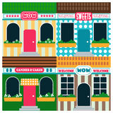 Διανυσματικός infographic αποθεμάτων των καταστημάτων και των εστιατορίων με τις διαφορετικές υπογραφές, colofful απεικόνιση Στοκ Φωτογραφία