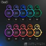 Διανυσματικός infographic κατάλογος σχεδίου με τους ζωηρόχρωμους κύκλους Στοκ Εικόνα