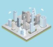 Διανυσματικός isometric αστικός κεντρικός χάρτης πόλεων με διανυσματική απεικόνιση