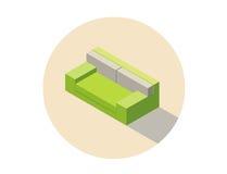 Διανυσματικός isometric πράσινος καναπές καθισμάτων καναπέδων, τρισδιάστατο επίπεδο εσωτερικό στοιχείο σχεδίου Στοκ Εικόνες
