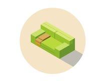 Διανυσματικός isometric ρόδινος καναπές καθισμάτων καναπέδων, τρισδιάστατο επίπεδο εσωτερικό στοιχείο σχεδίου Στοκ Φωτογραφία
