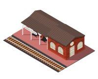 Διανυσματικός isometric σιδηροδρομικός σταθμός ελεύθερη απεικόνιση δικαιώματος