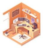 Διανυσματικός isometric τρισδιάστατος εργασιακός χώρος καλλιτεχνών διανυσματική απεικόνιση
