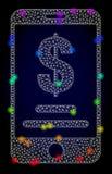 Διανυσματικός Polygonal απολογισμός δολαρίων πλέγματος κινητός με χρωματισμένα τα ουράνιο τόξο ελαφριά σημεία ελεύθερη απεικόνιση δικαιώματος