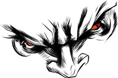 Διανυσματικόση δαίμονας προσώπου με την κόκκινη απεικόνιση ματιών διανυσματική απεικόνιση