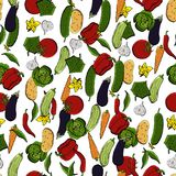Διανυσματικό άνευ ραφής αναδρομικό σχέδιο των λαχανικών Μπορέστε να χρησιμοποιηθείτε για το υπόβαθρο ιστοσελίδας, γεμίζει τα σχέδ Στοκ εικόνα με δικαίωμα ελεύθερης χρήσης