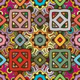 Διανυσματικό άνευ ραφής αφηρημένο σχέδιο καλειδοσκόπιων στα χρώματα φύσης Στοκ Εικόνα
