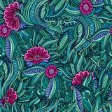 Διανυσματικό άνευ ραφής αφηρημένο σχέδιο λουλουδιών διανυσματική απεικόνιση