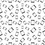 Διανυσματικό άνευ ραφής γραπτό σχέδιο με τα κινητά τηλέφωνα ελεύθερη απεικόνιση δικαιώματος