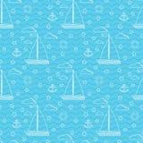 Διανυσματικό άνευ ραφής θαλάσσιο σχέδιο με sailboat δύο πανιών, σύννεφα, άγκυρα, lifebuoy ελεύθερη απεικόνιση δικαιώματος
