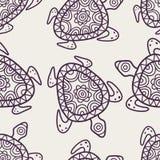 Διανυσματικό άνευ ραφής διακοσμητικό σχέδιο Συρμένη χέρι φυλετική ΤΣΕ χελωνών διανυσματική απεικόνιση