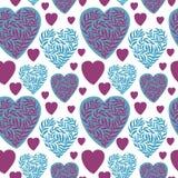 Διανυσματικό άνευ ραφής πρότυπο με τις καρδιές Η καλύτερη κάρτα για την ημέρα βαλεντίνων ` s απεικόνιση αποθεμάτων