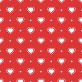 Διανυσματικό άνευ ραφής ρομαντικό σχέδιο Καρδιές στο κόκκινο backround ελεύθερη απεικόνιση δικαιώματος