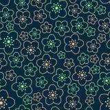 Διανυσματικό άνευ ραφής σκοτεινό σχέδιο sakura Στοκ εικόνες με δικαίωμα ελεύθερης χρήσης