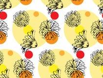 Διανυσματικό άνευ ραφής σχέδιο από τα λουλούδια calendula Στοκ εικόνα με δικαίωμα ελεύθερης χρήσης