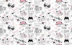 Διανυσματικό άνευ ραφής σχέδιο γατών μόδας Χαριτωμένη απεικόνιση γατακιών μέσα διανυσματική απεικόνιση