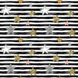 Διανυσματικό άνευ ραφής σχέδιο διακοπών με συρμένα τα χέρι αστέρια και τα λωρίδες διανυσματική απεικόνιση