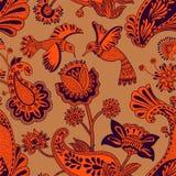 Διανυσματικό άνευ ραφής σχέδιο, διακοσμητικό ινδικό ύφος Τυποποιημένα λουλούδια και πουλιά στο κόκκινο υπόβαθρο Ζωηρόχρωμη απεικό διανυσματική απεικόνιση