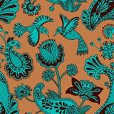 Διανυσματικό άνευ ραφής σχέδιο, διακοσμητικό ινδικό ύφος Τυποποιημένα λουλούδια και πουλιά στο κόκκινο υπόβαθρο Ζωηρόχρωμη απεικό ελεύθερη απεικόνιση δικαιώματος