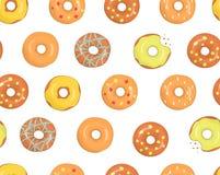 Διανυσματικό άνευ ραφής σχέδιο ζωηρόχρωμα doughnuts ελεύθερη απεικόνιση δικαιώματος