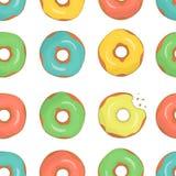 Διανυσματικό άνευ ραφής σχέδιο ζωηρόχρωμα doughnuts διανυσματική απεικόνιση