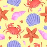 Διανυσματικό άνευ ραφής σχέδιο θέματος θάλασσας Καβούρι, αστέρι ψαριών και κοχύλι στο κίτρινο υπόβαθρο στοκ φωτογραφία με δικαίωμα ελεύθερης χρήσης