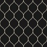 Διανυσματικό άνευ ραφής σχέδιο, λεπτές κυματιστές γραμμές Μαύρο κάθετο πλέγμα Στοκ Εικόνες
