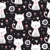 Διανυσματικό άνευ ραφής σχέδιο με μια χαριτωμένη γάτα σε ένα σκοτεινό υπόβαθρο απεικόνιση αποθεμάτων