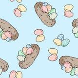 Διανυσματικό άνευ ραφής σχέδιο με συρμένες τις χέρι φωλιές πουλιών με τα αυγά Πάσχας Κωμική τυπωμένη ύλη ύφους απεικόνιση αποθεμάτων