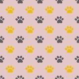 Διανυσματικό άνευ ραφής σχέδιο με τα ίχνη ποδιών ` s γατακιών απεικόνιση αποθεμάτων