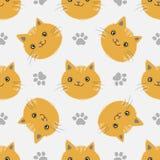 Διανυσματικό άνευ ραφής σχέδιο με τα γατάκια και τα ίχνη ποδιών ` s απεικόνιση αποθεμάτων