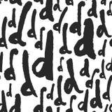 Διανυσματικό άνευ ραφής σχέδιο με τα γράμματα Δ καλλιγραφίας Στοκ Εικόνες
