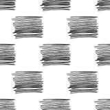 Διανυσματικό άνευ ραφής σχέδιο με τα λωρίδες βουρτσών Μαύρο χρώμα στο άσπρο υπόβαθρο Χρωματισμένη χέρι grange σύσταση γραμμών μελ απεικόνιση αποθεμάτων