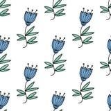 Διανυσματικό άνευ ραφής σχέδιο με τα μπλε λουλούδια bluebell Στοκ Εικόνες