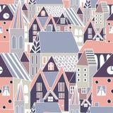 Διανυσματικό άνευ ραφής σχέδιο με τα σπίτια, συρμένο υπόβαθρο πόλεων κινούμενων σχεδίων χέρι για το αστείο σχέδιο Απεικόνιση αποθεμάτων