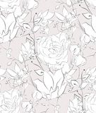 Διανυσματικό άνευ ραφής σχέδιο με τα συρμένα λουλούδια, floral στοκ φωτογραφίες