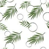 Διανυσματικό άνευ ραφής σχέδιο με τα τροπικά φύλλα Στοκ φωτογραφία με δικαίωμα ελεύθερης χρήσης