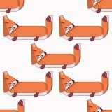 Διανυσματικό άνευ ραφής σχέδιο με τα χαριτωμένα κινούμενα σχέδια foxes4 διανυσματική απεικόνιση