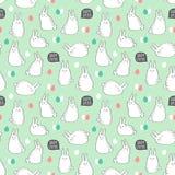 Διανυσματικό άνευ ραφής σχέδιο με τα χαριτωμένα κουνέλια και τα αυγά για το σχέδιο Πάσχας Στοκ Εικόνες