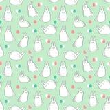 Διανυσματικό άνευ ραφής σχέδιο με τα χαριτωμένα λαγουδάκια και τα αυγά Πάσχας Στοκ Εικόνες
