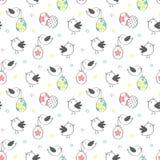Διανυσματικό άνευ ραφής σχέδιο με τα χαριτωμένα πουλιά και τα αυγά για το σχέδιο Πάσχας Στοκ φωτογραφία με δικαίωμα ελεύθερης χρήσης
