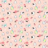 Διανυσματικό άνευ ραφής σχέδιο με τα χαριτωμένα πουλιά, τα λουλούδια, τα κέικ και τα αυγά Πάσχας Στοκ Φωτογραφία