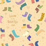 Διανυσματικό άνευ ραφής σχέδιο με τις ζωηρόχρωμες κάλτσες απεικόνιση αποθεμάτων