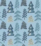 Διανυσματικό άνευ ραφής σχέδιο με το δάσος χειμερινού έλατου απεικόνιση αποθεμάτων