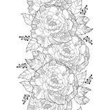 Διανυσματικό άνευ ραφής σχέδιο με το peony λουλούδι περιλήψεων και περίκομψο φύλλο στο Μαύρο στο άσπρο υπόβαθρο Floral κάθετα peo Στοκ Φωτογραφίες