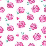 Διανυσματικό άνευ ραφής σχέδιο σύγχρονου σχεδίου τριαντάφυλλων Ρόδινα λουλούδια με τα φυλλώδη φύλλα που απομονώνονται στο άσπρο υ Στοκ Φωτογραφία