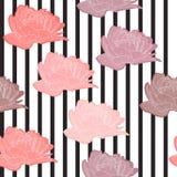 Διανυσματικό άνευ ραφής σχέδιο, σύσταση, τυπωμένη ύλη με τα λουλούδια και τα λωρίδες Καθιερώνοντα τη μόδα στοιχεία Floral διακοσμ διανυσματική απεικόνιση