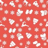 Διανυσματικό άνευ ραφής σχέδιο της διακόσμησης Χριστουγέννων απεικόνιση αποθεμάτων
